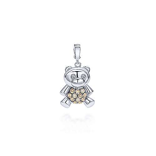 Gabriel - 14K White Gold Champagne and White Diamond Charm Pendant