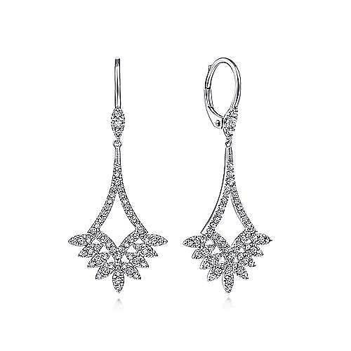 14K White Gold Chandelier Diamond Earrings