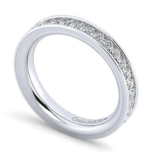 14K White Gold Channel Prong Diamond Anniversary Band