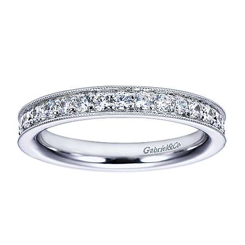 14K White Gold Channel Prong Diamond Eternity Band with Millgrain