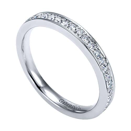 14K White Gold Channel Prong Diamond Wedding Band