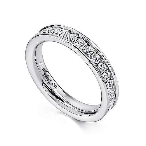 14K White Gold Channel Prong Set Diamond Eternity Band