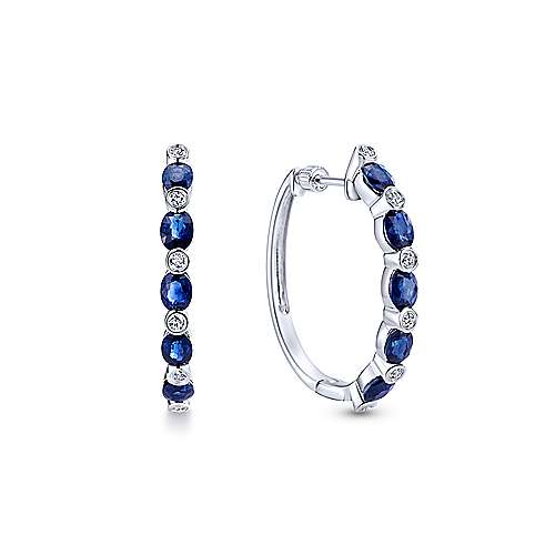 14K White Gold Channel Set  25mm Round Classic Diamond & Sapphire Hoop Earrings