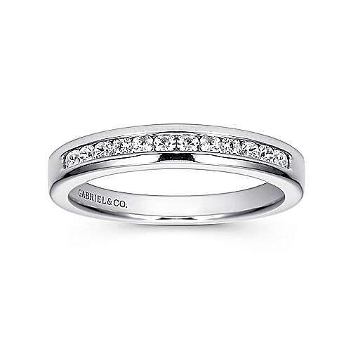 14K White Gold Channel Set 11 Stone Diamond Wedding Band