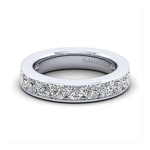 14K White Gold Channel Set 13 Stone Diamond Anniversary Band
