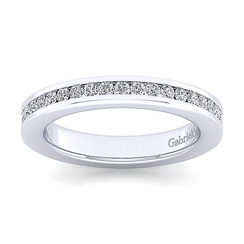 14K White Gold Channel Set Diamond Anniversary Band