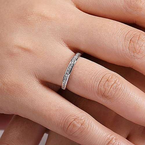 14K White Gold Channel Set Diamond Stackable Ring