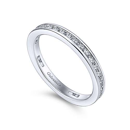 14K White Gold Channel Set Diamond Wedding Band