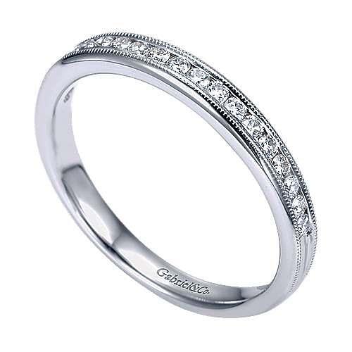 14K White Gold Channel Set Diamond Wedding Band