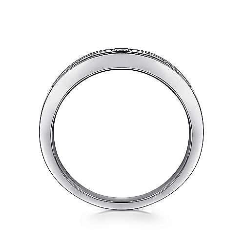 14K White Gold Channel Set Princess Cut 9 Stone Diamond Anniversary Band