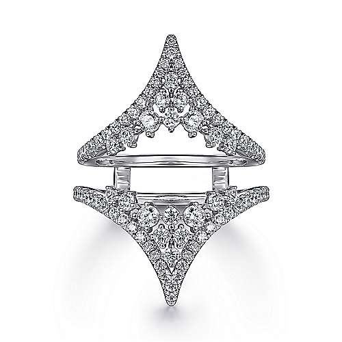 14K White Gold Chevron Diamond Ring Enhancer