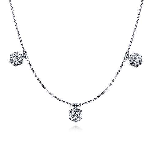 14K White Gold Choker Necklace with Hexagonal Diamond Halo Stations