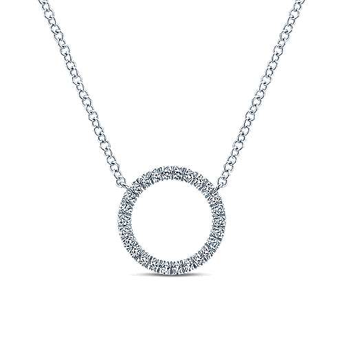 14K White Gold Circle Diamond Pendant Necklace