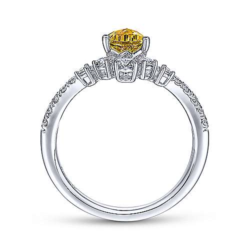 14K White Gold Citrine and Diamond Fashion Ring