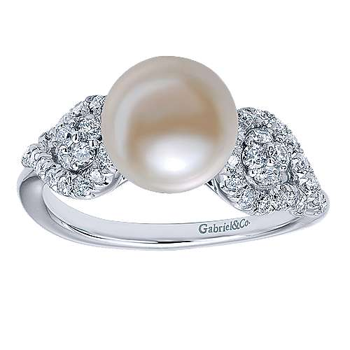 14K White Gold Classic Cultured Pearl Diamond Ring