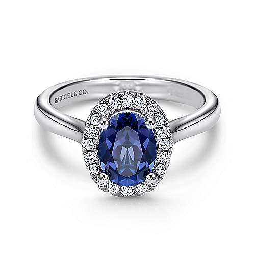 14K White Gold Classic Oval Sapphire and Diamond Halo Ring