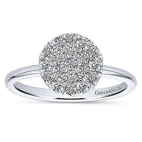 14K White Gold Classic Round Diamond Pavé Ring