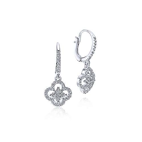 14K White Gold Clover Cutout Diamond Drop Earrings