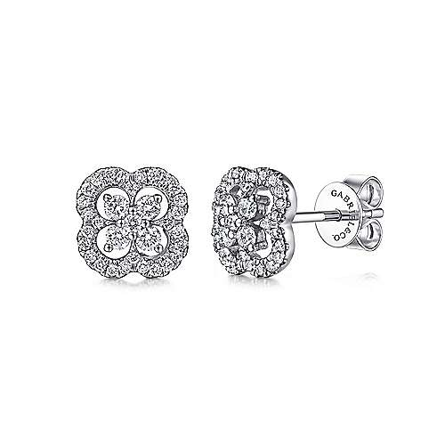 14K White Gold Clover Cutout Diamond Stud Earrings
