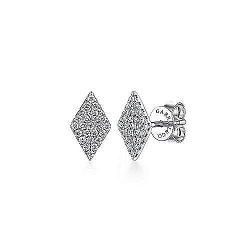 14K White Gold Cluster Diamond Rhombus Stud Earrings