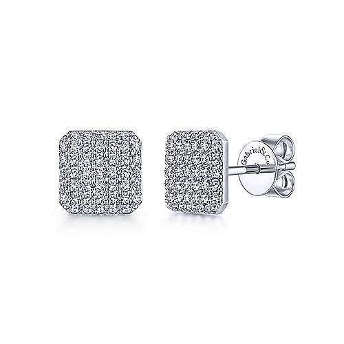 14K White Gold Cluster Square Diamond Stud Earrings