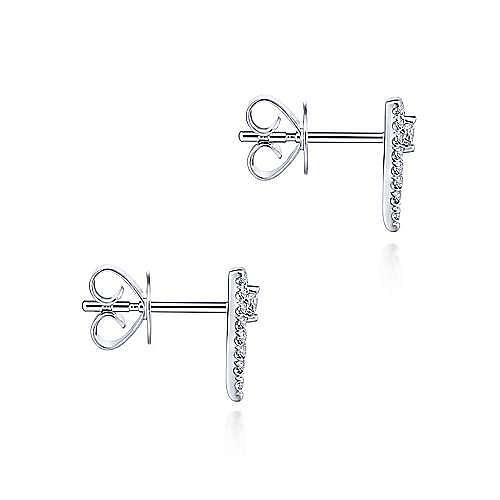 14K White Gold Cluster Triangle Diamond Stud Earrings