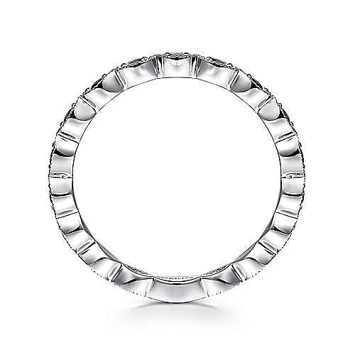 14K White Gold Contoured Marquise Station Black Diamond Ring
