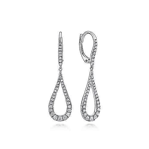 14K White Gold Contoured Pear Shaped Diamond Drop Earrings