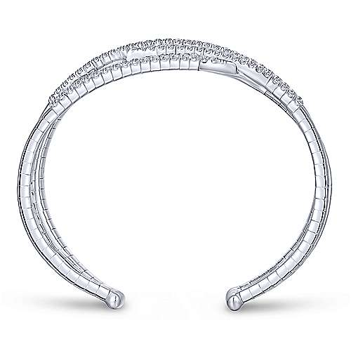 14K White Gold Criss Crossing Diamond Cuff