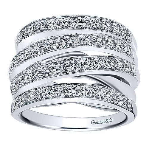14K White Gold Criss Crossing Diamond Ring