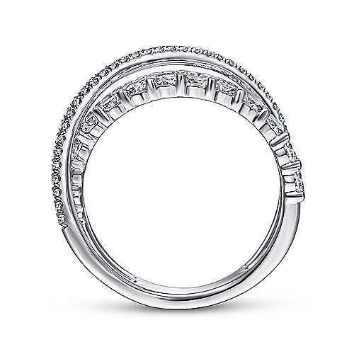14K White Gold Criss Crossing Layered Diamond Ring