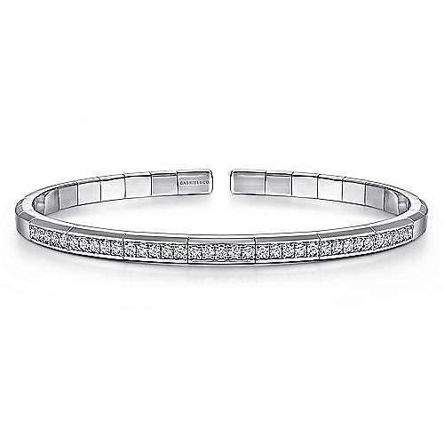 14K White Gold Cuff Bracelet with Diamond Inner Channel