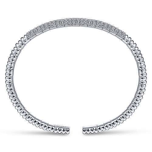 14K White Gold Cuff Bracelet with Diamond Pavé Station