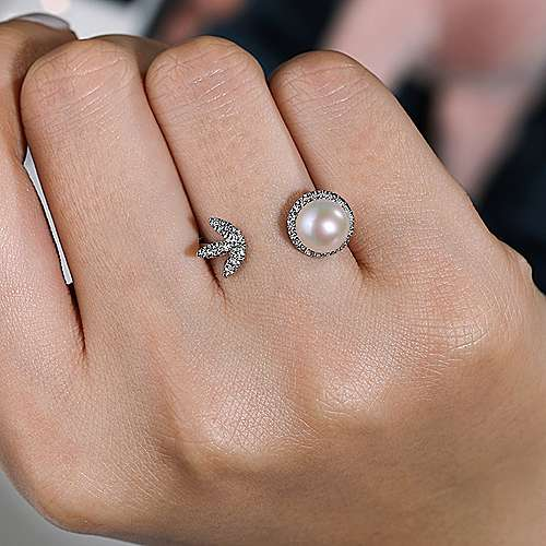 14K White Gold Cultured Pearl & Diamond Open Ladies Fashion Ring