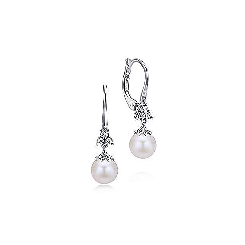 14K White Gold Cultured Pearl Diamond Drop Earrings