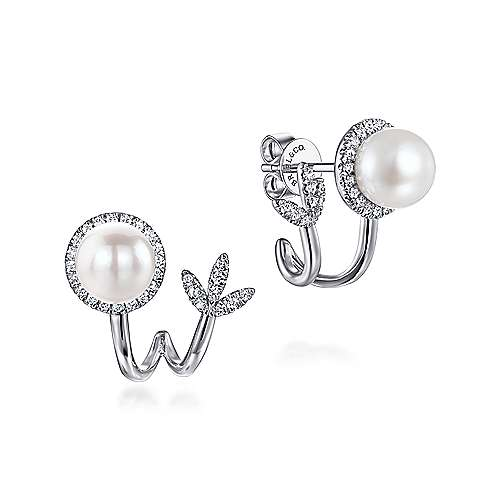 14K White Gold Cultured Pearl J Curve Earrings