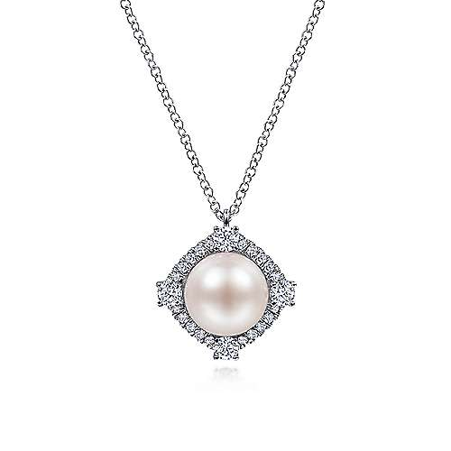 14K White Gold Cultured Pearl Pendant Necklace with Diamond Halo