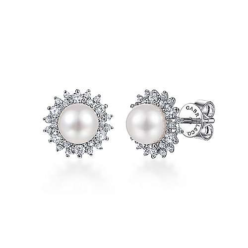 14K White Gold Cultured Pearl Scalloped Diamond Halo Stud Earrings