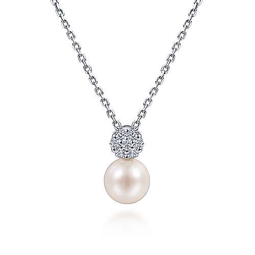 14K White Gold Cultured Pearl and Diamond Pavé Pendant Necklace