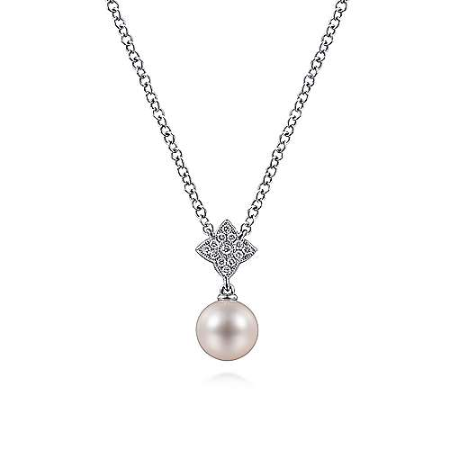14K White Gold Cultured Pearl and Floral Diamond Pendant Necklace