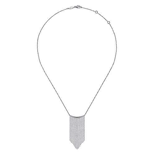 14K White Gold Curved Bar and Waterfall Chain Necklace