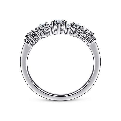 14K White Gold Curved Diamond Anniversary Band