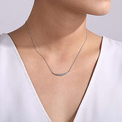 14K White Gold Curved Diamond Bar Necklace