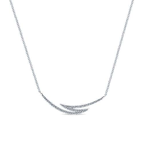 14K White Gold Curved Diamond Bar Zig Zag Necklace