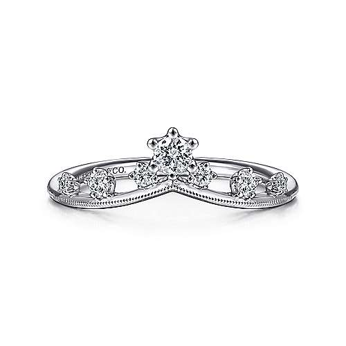 14K White Gold Curved Diamond Crown Ring
