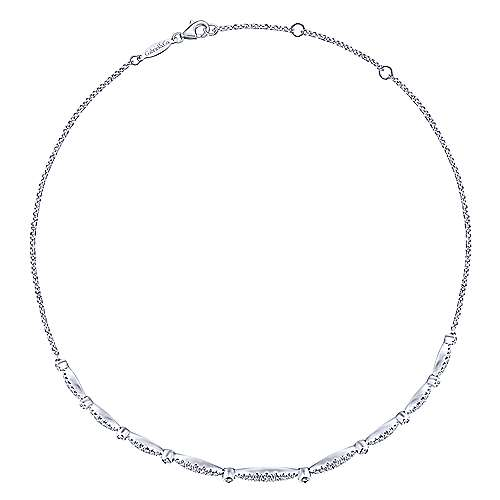 14K White Gold Curved Diamond Station Necklace