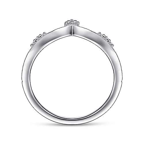 14K White Gold Curved Diamond V Ring