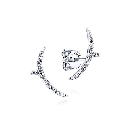 14K White Gold Curved Diamond Vine Stud Earrings