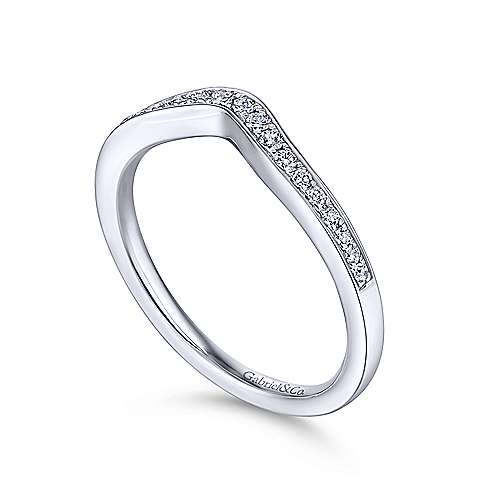 14K White Gold Curved Diamond Wedding Band