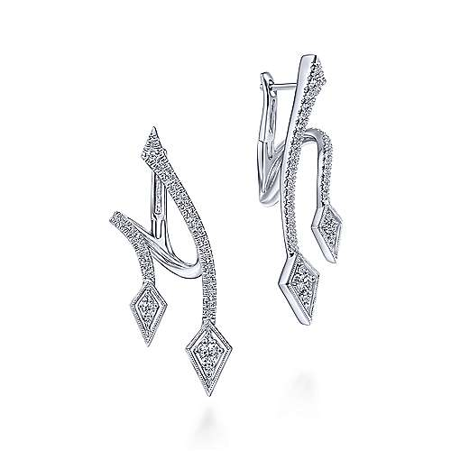 14K White Gold Curved Double Arrow Diamond Huggie Earrings
